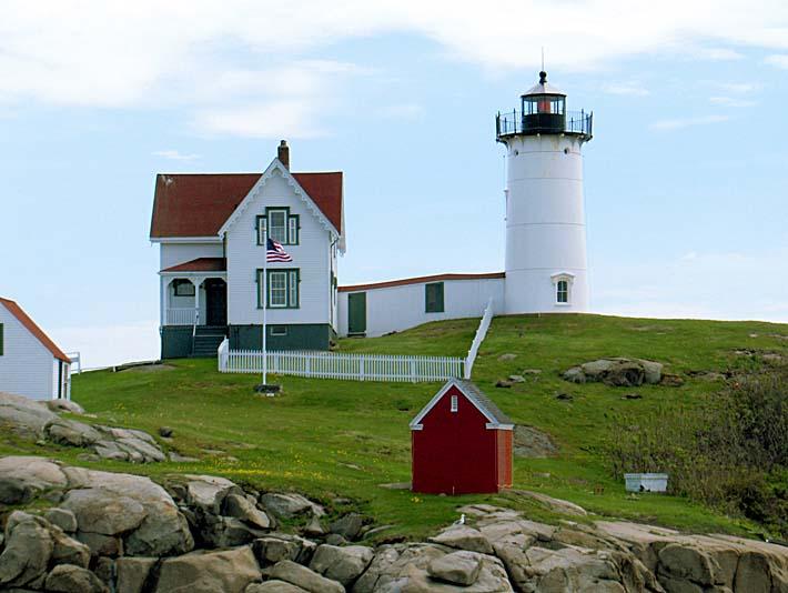 Brandie Newmon Cape Neddick Lighthouse, York Maine stretched canvas art print