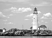 Brandie Newmon Boston Lighthouse, Massachusetts (Black and White)