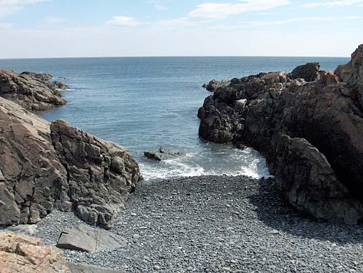 Brandie Newmon Rocks Along the Maine Coastline stretched canvas art print