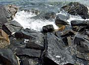 Brandie Newmon Ocean Waves Crashing into the Rocky Maine Coast