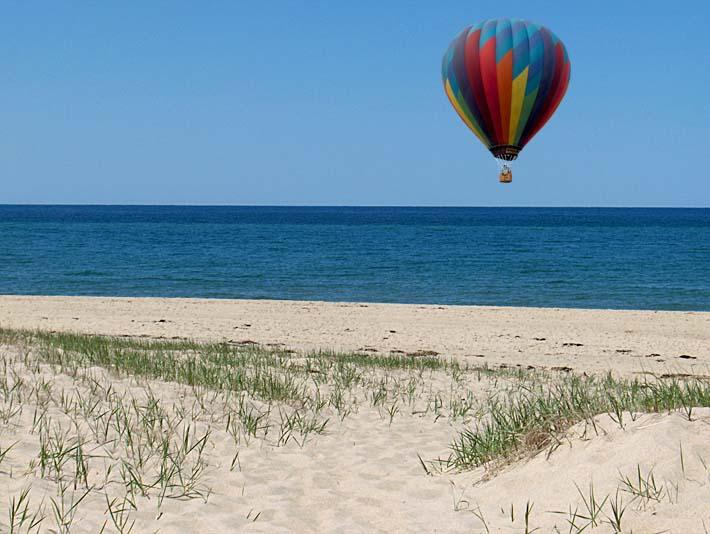 Brandie Newmon Hot Air Balloon at the Beach stretched canvas art print