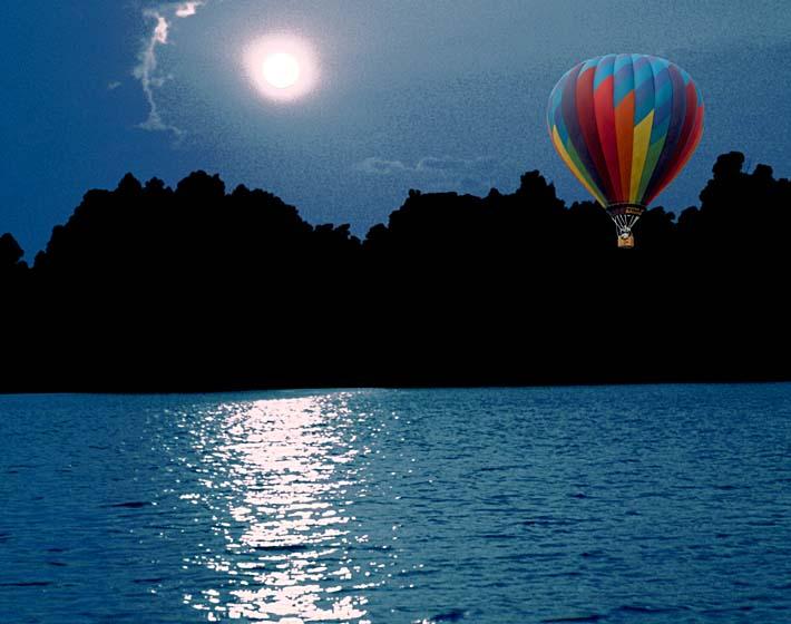 Brandie Newmon Hot Air Balloon at Night stretched canvas art print