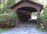 Brandie Newmon Covered Wooden Bridge canvas prints