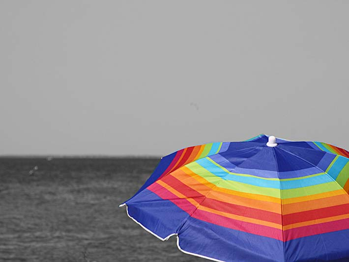 Kim O'Leary Photography Colorfull Umbrella stretched canvas art print