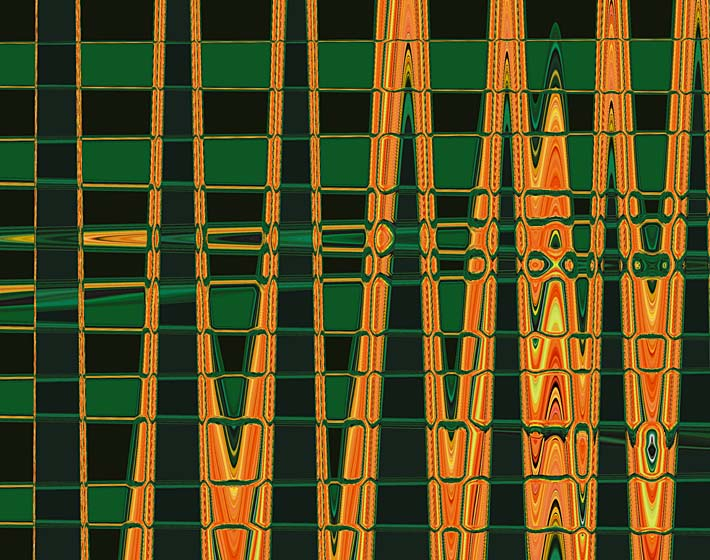Lora Ashley Green and Orange Abstract stretched canvas art print
