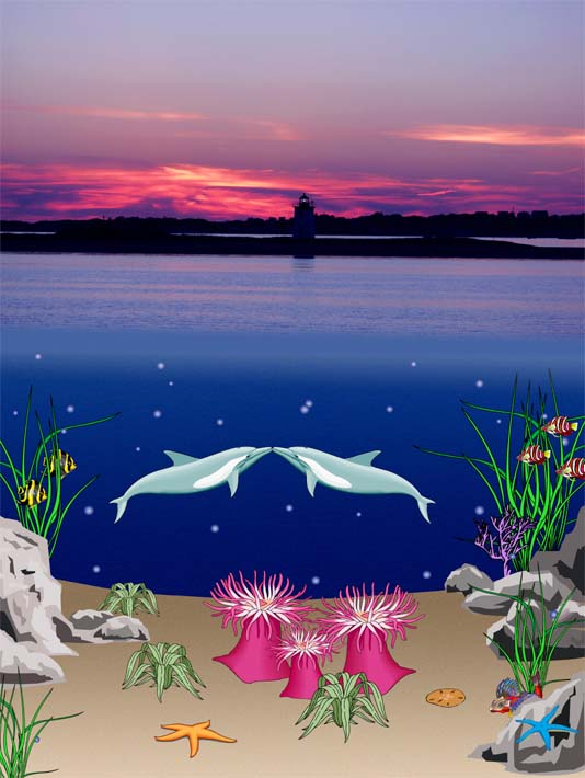 Lora Ashley Lighthouse Above, Dolphins Below stretched canvas art print
