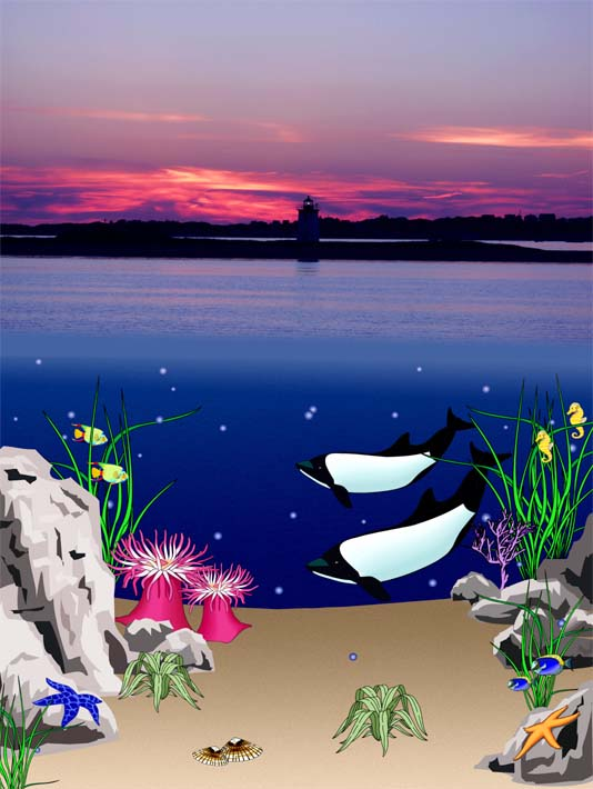Lora Ashley Lighthouse Above, Whales Below stretched canvas art print
