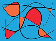 Lora Ashley Blue and Red Abstract