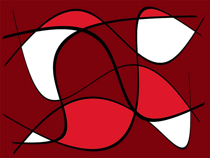 Lora Ashley Maroon Abstract stretched canvas art print