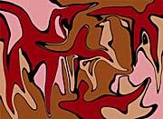 Lora Ashley Maroon and Tan Abstract