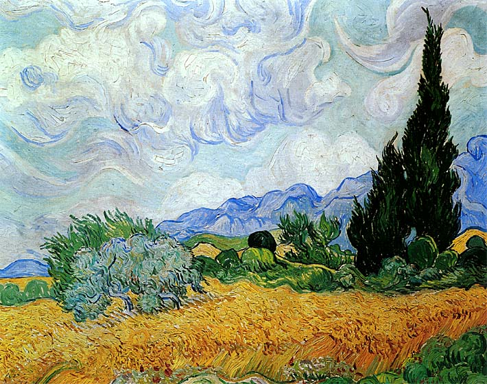 Vincent van Gogh Wheat Field and Cypress Trees (seen in the movie Vanilla Sky) stretched canvas art print