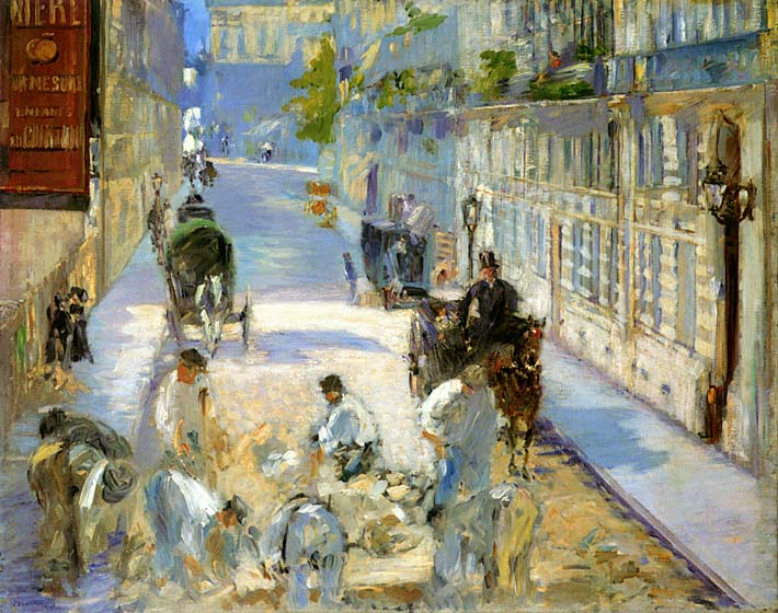 Edouard Manet The Rue Mosnier with Pavers stretched canvas art print