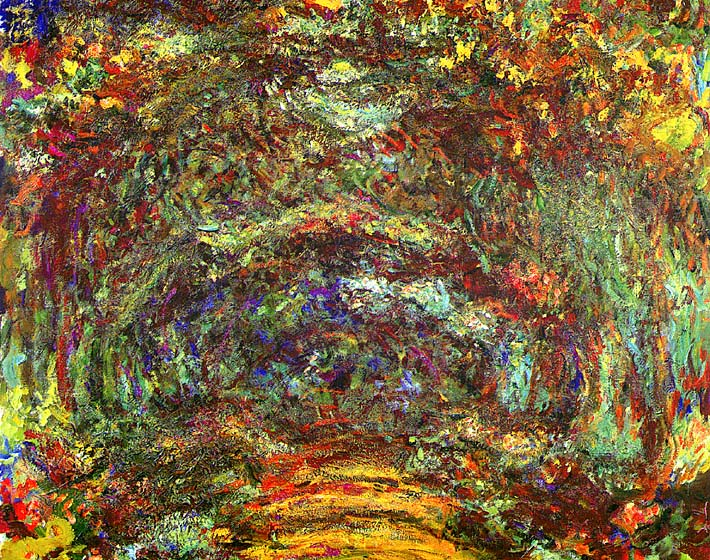 Claude Monet The Path with Rose Trellises, Giverny stretched canvas art print