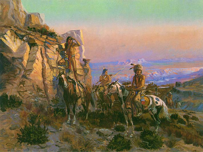 Charles Russell Trouble Hunters stretched canvas art print