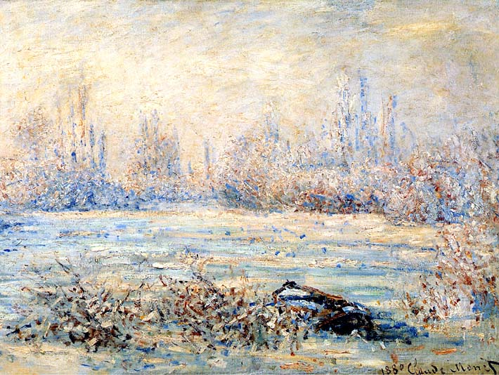 Claude Monet Frost near Vetheuil stretched canvas art print