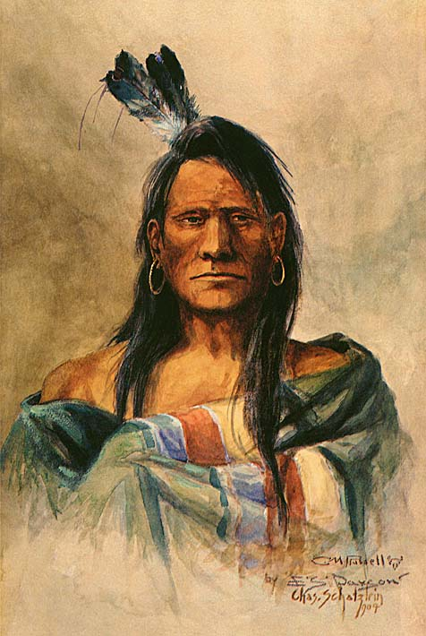 Charles Russell Indian Head stretched canvas art print