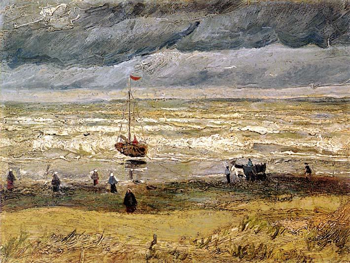 Vincent van Gogh Beach at Scheveningen in Stormy Weather stretched canvas art print