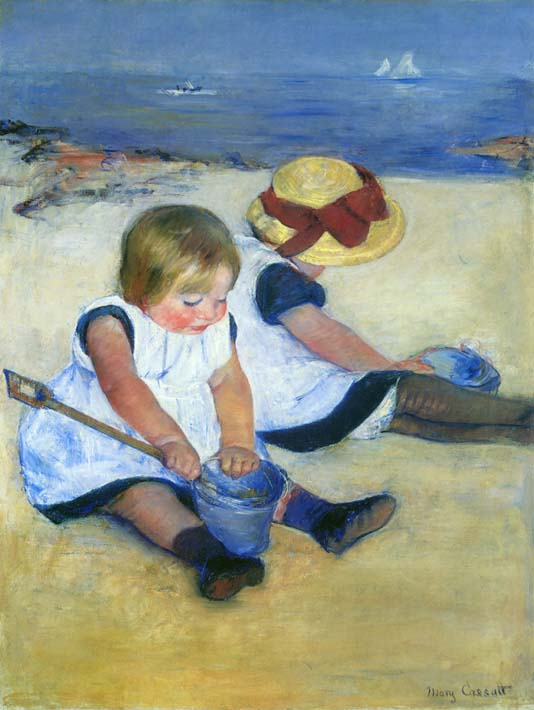 Mary Cassatt Children Playing on the Beach stretched canvas art print