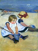 Mary Cassatt Children Playing on the Beach