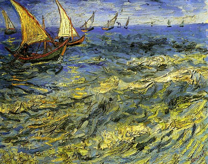 Vincent van Gogh Seascape at Saintes-Maries stretched canvas art print