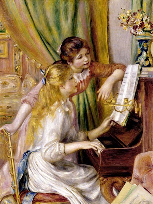 Pierre Auguste Renoir At the Piano stretched canvas art print