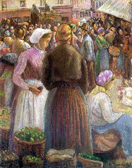 Camille Pissarro Market at Pontoise stretched canvas art print