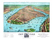 Currier And Ives A Birdseye View of New York