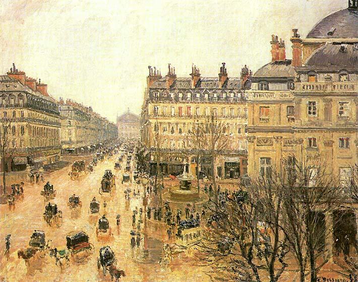 Camille Pissarro Place du Theatre Francais, Rain stretched canvas art print