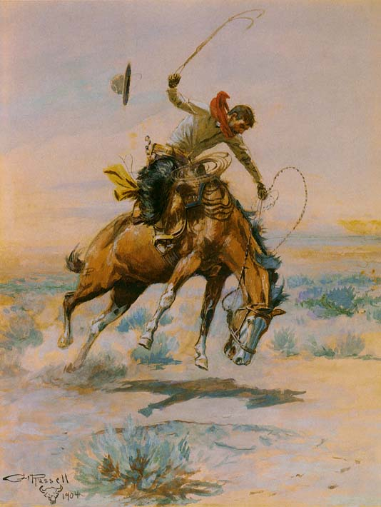 Charles Russell The Bucker stretched canvas art print