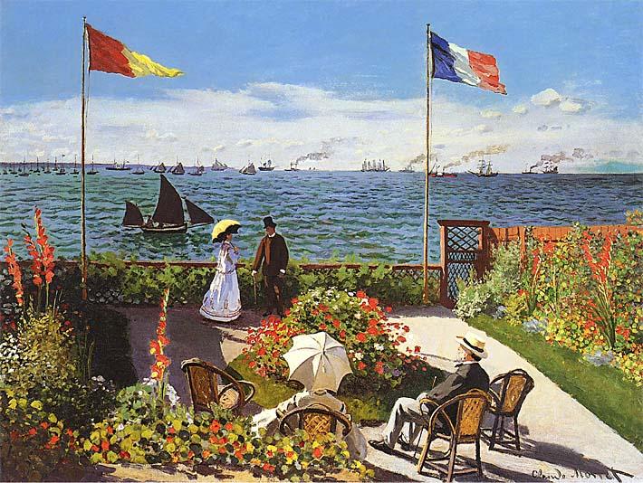 Claude Monet Terrace at Sainte-Adresse stretched canvas art print