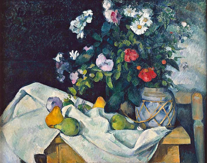 Paul Cezanne Flowers and Pears stretched canvas art print