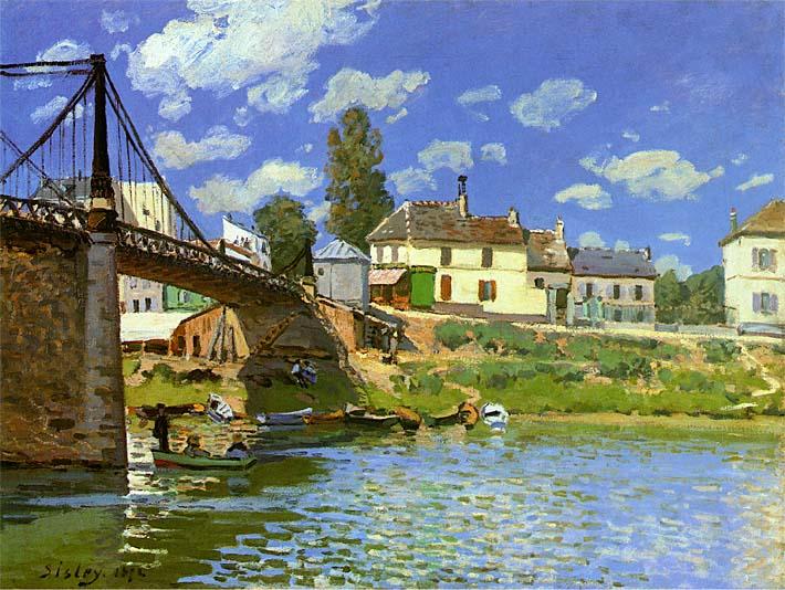 Alfred Sisley Bridge at Villeneuve la Garenne stretched canvas art print