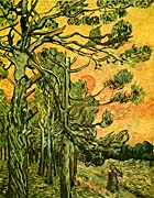 Vincent Van Gogh Pine Trees Against A Red Sky With Setting Sun canvas prints