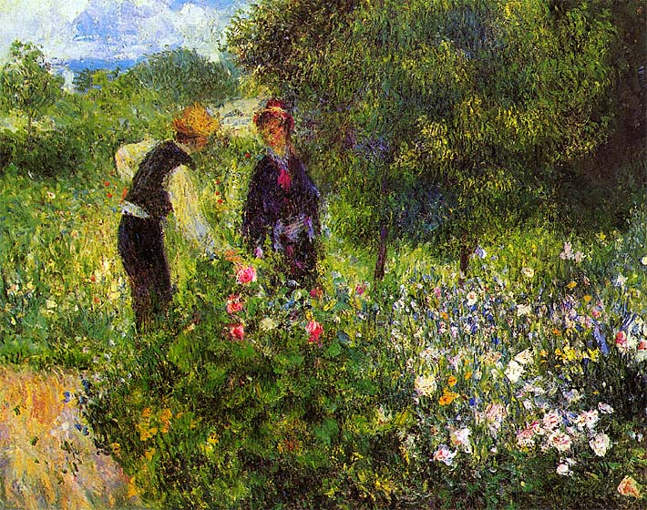 Pierre Auguste Renoir Conversation with the Gardener stretched canvas art print
