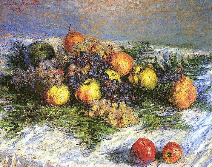 Claude Monet Pears and Grapes stretched canvas art print