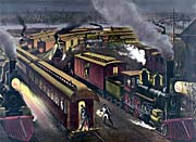 Currier and Ives Night Scene at a Railroad Junction