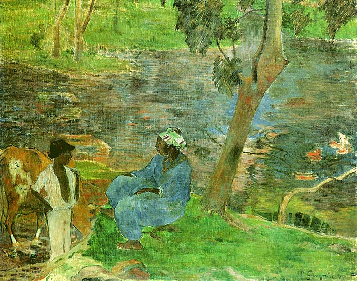 Paul Gauguin By the Pond stretched canvas art print