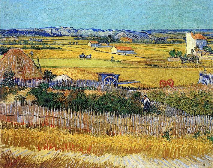 Vincent van Gogh Harvest at La Crau stretched canvas art print