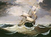 Fitz Hugh Lane Three-Master on Rough Sea