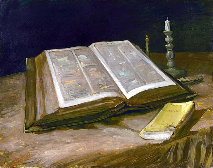 Vincent van Gogh Still Life with Open Bible stretched canvas art print