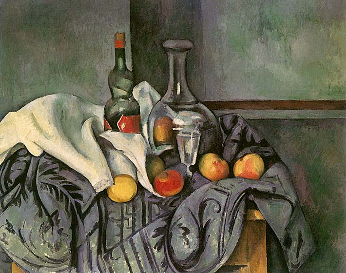 Paul Cezanne Still Life with Peppermint Bottle stretched canvas art print