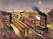 Currier and Ives Night Scene at an American Railway Junction