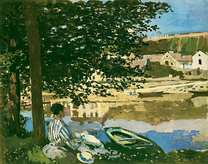 Claude Monet On the Seine at Bennecourt stretched canvas art print