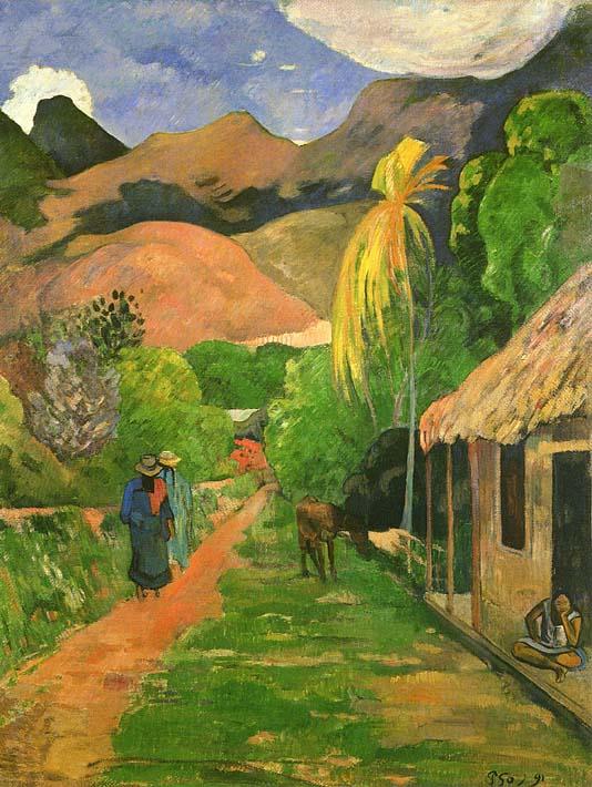 Paul Gauguin Street in Tahiti stretched canvas art print