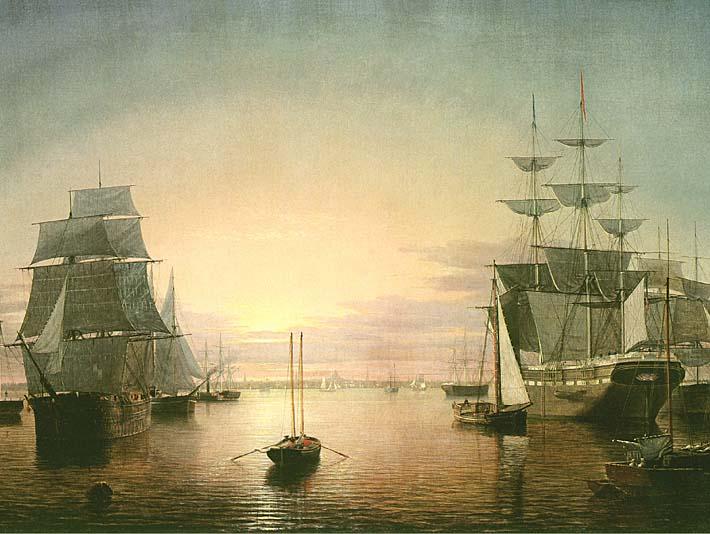 Fitz Hugh Lane Boston Harbor at Sunset stretched canvas art print