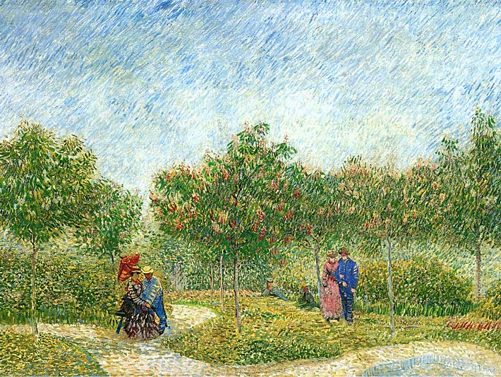 Vincent van Gogh Courting Couples in a Public Park in Asnieres stretched canvas art print