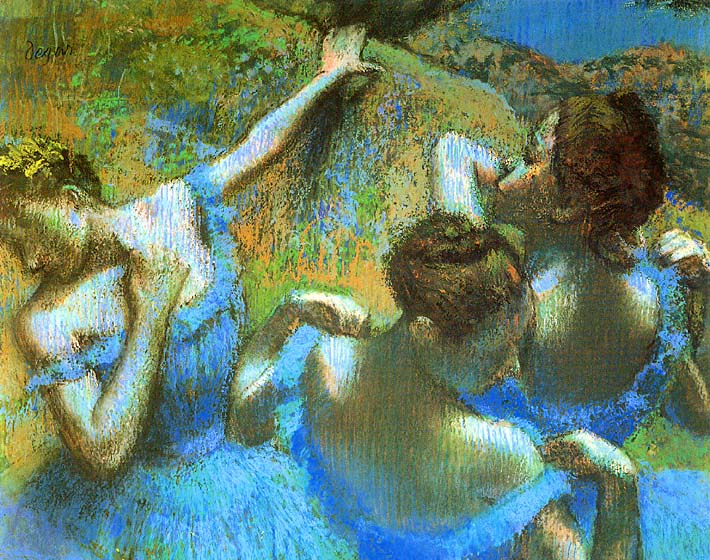 Edgar Degas Blue Dancers (detail) stretched canvas art print
