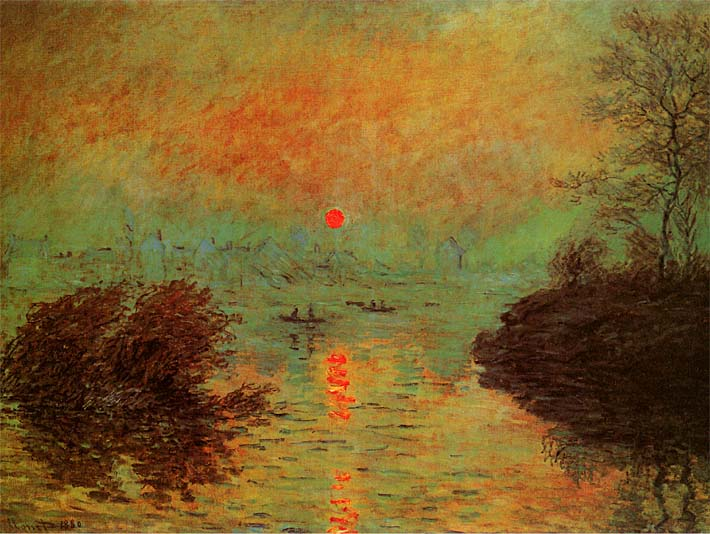Claude Monet Sunset on the Seine at Lavacourt: Winter Effect stretched canvas art print