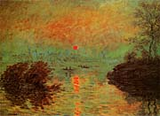 Claude Monet Sunset on the Seine at Lavacourt: Winter Effect