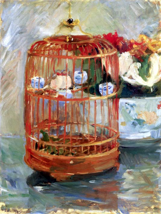 Berthe Morisot The Cage stretched canvas art print